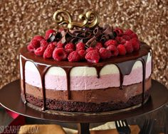 Chocolate Raspberry Mousse Cake by Sugarhero! This Chocolate Raspberry Mousse Cake has a fudgy brownie base and three layers of light and fluffy mousse. Let there be cake! Sweet Recipes, Cake Recipes, Dessert Recipes, Food Cakes, Cupcake Cakes, Fondant Cakes, Chocolate Raspberry Mousse Cake, Vanilla Mousse, Rasberry Mousse