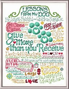 Lets Learn From Our Dogs - 'Words' cross stitch pattern designed by Ursula Michael.