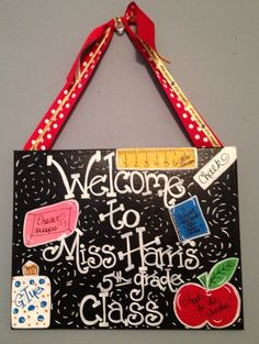 ON SALE Great Teacher Gift. Teachers  Classroom Welcome Door Sign. Can be Customized with your name and classroom theme