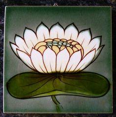 Jugendstil Fliese art nouveau tile Tegel MOPF Seerose grandios rar top selten
