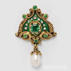 Art Nouveau 18kt Gold, Demantoid Garnet, and Pearl Pendant/Brooch, Marcus & Co.(Lot 293, Estimate $10,000-$15,000)