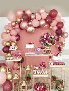 Balloon wall decor and flowering birthday party concept. Balloon Garland, Balloon Decorations, Birthday Party Decorations, Baby Shower Decorations, Wedding Decorations, Balloon Wall, Shower Party, Bridal Shower, 18th Birthday Party