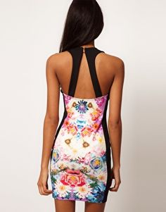ASOS Body-Conscious Dress in Photographic Floral Print