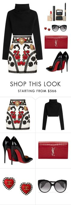 """Untitled #92"" by orrinn ❤ liked on Polyvore featuring Dolce&Gabbana, Valentino, Christian Louboutin, Yves Saint Laurent, Chanel, Alexander McQueen and Estée Lauder"