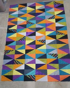 Finished piecing this bold quilt top I love the colors