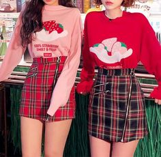 STRAWBERRY SWEET Knit Sweater Pullover sold by Tony Moly Store. Shop more products from Tony Moly Store on Storenvy, the home of independent small businesses all over the world. Hipster Outfits, Komplette Outfits, Korean Outfits, Skirt Outfits, Fashion Outfits, Soft Grunge Outfits, Clueless Fashion, Hipster Clothing, Batman Outfits