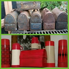 I love red rustoleum on a worker dome paired with vintage thermos bottles. Reuse, Repurposed, Bottles, Recycling, Diy Projects, Vintage, Home Decor, Decoration Home, Room Decor
