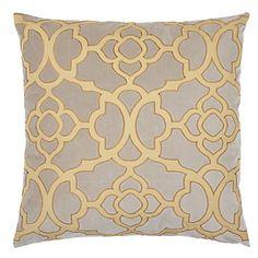Our chic Beneito Pillow combines a zesty Citrus cotton percale appliqued design with a sophisticated Steel cotton velvet. $69.95
