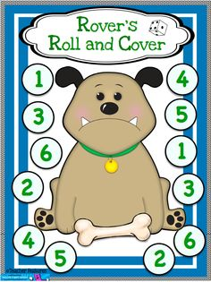 Use 1 die for number recognition or 2 for adding fun! (Graphics by Dancing Crayon Designs) Numbers Kindergarten, Numbers Preschool, Math Numbers, Preschool Math, Math Classroom, Teaching Math, Maths, Math Games, Math Activities