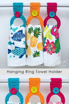 This crochet hanging ring towel holder is made with either a bracelet or a hair elastic. First crochet around the ring, then add the loop and the button. ideas diy How to Crochet a Hanging Ring Towel Holder Crochet Towel Holders, Crochet Dish Towels, Crochet Towel Topper, Crochet Dishcloths, Diy Towel Holders, Kitchen Towel Holders, Crochet Kitchen Towels, Crochet Crafts, Yarn Crafts