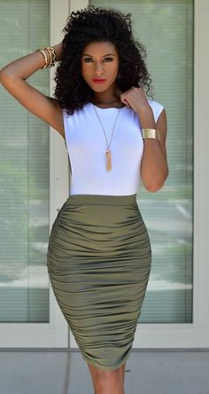 cool outfit idea / white top and pencil skirt
