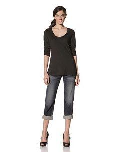 SIMP Women's Starburst Long Sleeve Scoop Tee (Black)