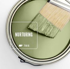 Color of the Month: Nurturing – Colorfully BEHR Fresh, warm and natural, Nurturing is our selection for the year's traditional month of green, March. Nurturing serves as a surprising yet. Green Paint Colors, Kitchen Paint Colors, Bedroom Paint Colors, Paint Colors For Home, House Colors, Paint Walls, Behr Paint, House Paint Exterior, Exterior Paint Colors