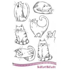Unmounted Rubber Stamps Cat Stamps Valentines Whimsical Stamps Love Cats