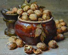 """Yury Nikolaev (Russian, born """"Walnuts"""" ~ oil on canvas Still Life 2, Still Life Fruit, Art History Major, Classical Realism, Walnut Oil, Still Life Oil Painting, Russian Painting, Art Addiction, Fruit Painting"""