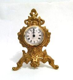 Vintage Imperial Brass Lion Clock Ornate Lion by VintageByTiffinie