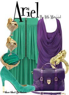 "Inspired by Disney's Ariel, voiced by Jodi Benson, in ""The Little Mermaid""- Shopping info! Princess Inspired Outfits, Disney Themed Outfits, Disney Inspired Fashion, Disney Bound Outfits, Disney Fashion, Princess Dresses, Disney Designs, Vintage Mermaid, Fandom Fashion"