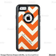 Orange Chevron Stripes with Monogram OtterBox iPhone 6/6s Case