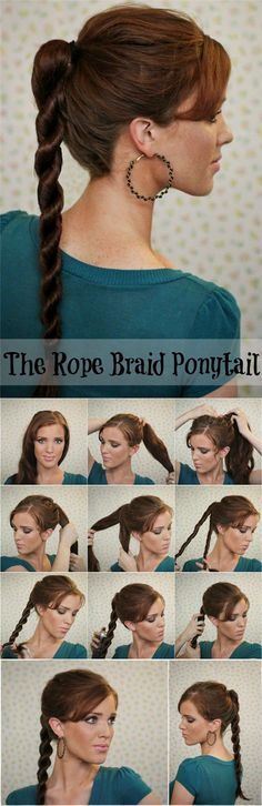 rope braided ponytail with brown clip in human hair extensions
