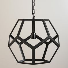 Cost Plus has great light fixtures that look expensive but are always on sale - this guy is $79.  Black Metal Hexagon Pendant Lamp | World Market