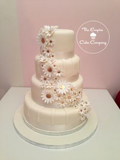 Cascading Daisies Wedding Cake