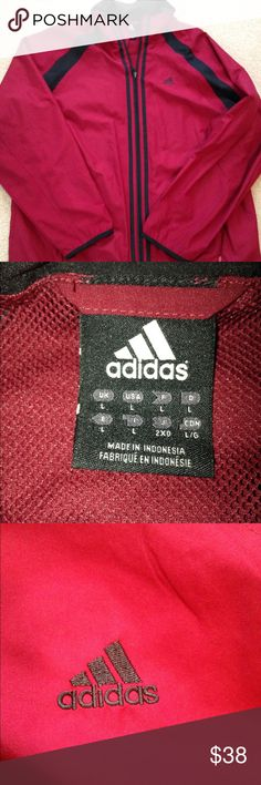 Adidas Men's Windbreaker Men's windbreaker that is NWOT, I bought this for my husband however it's not his style. I did wash it but he did not wear it. The color is more of a maroon, light weight and just in time for Spring and Summer. Size is XL and true to size. Please ask questions before purchasing if you have any adidas Jackets & Coats Windbreakers