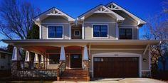 Craftsman Porch Railing Designs Design, Pictures, Remodel, Decor and Ideas - page 4 Craftsman Porch, Craftsman Exterior, Modern Craftsman, Craftsman Style Homes, Craftsman Columns, Exterior Homes, Porch Railing Designs, Front Porch Design, Front Porches