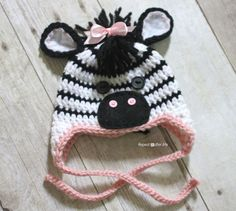 Repeat Crafter Me: Crochet Zebra Hat Pattern...here's one that's actually for what I want to make!