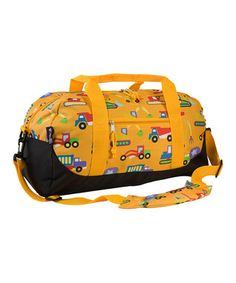 Yellow Olive Kids Under Construction Sleepover Duffel Bag