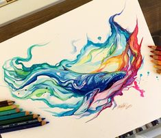 """""""Humpback Whale"""" - colored pencil and mixed media drawing by Lucky978 on deviantART"""