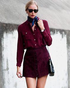 bcec461c866 Forever 21 Button Suede Skirt in Aubergine Цвет Бычьей Крови