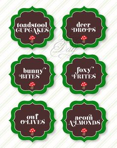 Woodland Birthday Party PRINTABLE Food Labels