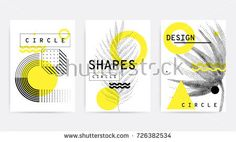 Universal trend pattern set juxtaposed with bright bold geometric leaves foliage yellow elements composition. Background in restrained sustained tempered style. Free Vector Graphics, Free Vector Art, Free Vector Images, Vector Icons, Shapes Images, Memphis Design, Circle Shape, Grafik Design, Stock Foto