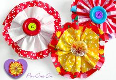 More fabric flowers - http://sew4home.com/projects/fabric-art-a-accents/882-celebrate-spring-with-fabric-flowers-