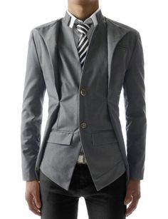 (NJK7) Mens causal Slim Fit Double Collar 2 Button Blazer Jacket WHITE US XL(Tag size 3XL)