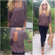 """The MUST HAVE top of the season is here!!! """"Scallop Blouse"""" ($28.99) now available in mocha (pictured), teal, and black! Available in store at #sophieandtrey and online! www.sophieandtrey.com #freeshipping #newarrivals #scallopblouse #top"""