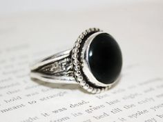 Mens Black Onyx Large Signature Ring in Sterling - Silver Black Gem Reticulated Silver -Mens Textured Silver Ring with Black Onyx Ring