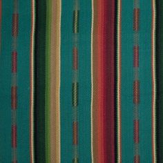 This striped cotton twill consists of a bundle of bright and vibrant colors. These colors include, turquiose, teal, beige, tan, burnt orange, maroon, burgandy, black, moss green, forest green, lime green, and more. This fabric is medium weight with a heavy visible twill weave. It is stiff with a rough hand. This fun fabric would be perfect for a couch/sofa chair, placemats, throw pillows, etc.