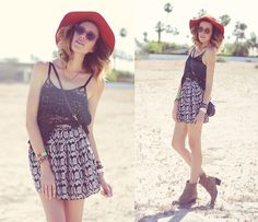 Urban Outfitters Orange Floppy Hat, Free People Studded Lace Top, Raen Optics Vintage Style Sunnies, Brandy Melville  Pattern Skirt, Steve Madden Suede Booties