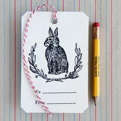 Letterpress Bunny Wreath Gift Tag (Atelier Austin Press)