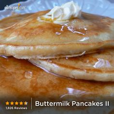 "Buttermilk Pancakes II | ""This is my go to recipe for pancakes, I will never use a boxed mix again, it just doesn't compare by any means. Delicious!"" http://allrecipes.com/recipe/buttermilk-pancakes-ii/Detail.aspx"