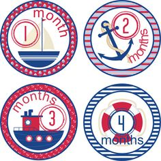 Baby Month Stickers Baby Monthly Stickers Boy Monthly Shirt Stickers Sailing Nautical Baby Shower Gift Photo Prop Baby Milestone Sticker