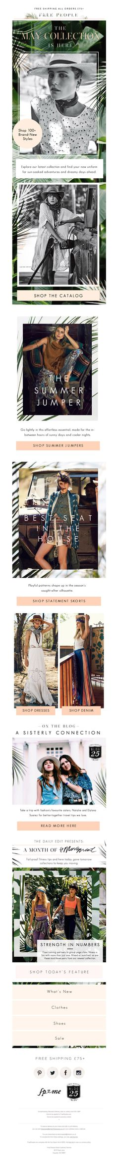 Free People May collection launch Email