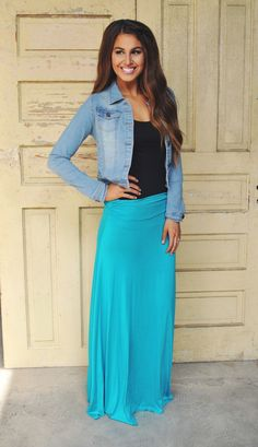 Dottie Couture Boutique - Jersey Maxi Skirt Teal , $24.00 (http://www.dottiecouture.com/jersey-maxi-skirt-teal/)