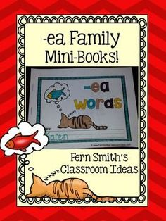 Printable Phonics Mini-Books for the -ea Family - Perfect for Literacy Centers, Homework, Seat Work, Word Work, Daily Five, RTI and Reading Small Group Work. #TPT #FernSmithsClassroomIdeas $Paid