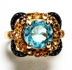 Sky blue topaz accent 18k yellow gold over by Michaelangelas, $74.50