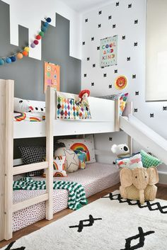 Imagine the joy of your pup with a fourth super fun? Gabriela Marques of a Boy& Room with a slide. Boy And Girl Shared Room, Bed For Girls Room, Boy Room, Girls Bedroom, Kids Bedroom Designs, Kids Room Design, Unisex Bedroom Kids, Ikea Kids Bedroom, Unisex Baby