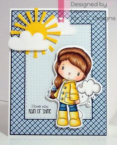 C.C. Designs Little Cloudy, AmyR Rainy Day Sentiments, YNS Stitched Rectangles Dies, Lawn Fawn Spring Showers Dies