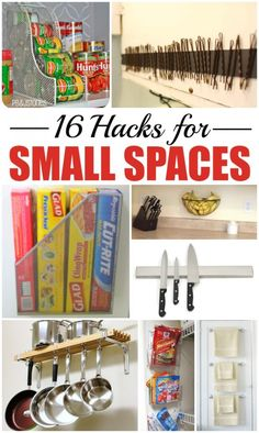 16 hacks for small spaces, tiny bathrooms, small kitchens, apartments & more.