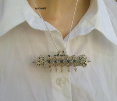 Traditional Yemenite prayer box jewelry - swarovsky and silver seed beads